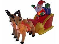 Christmas Santa and reindeer sleigh and projector