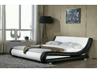 Double bed frame leather design