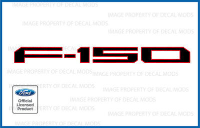 - 2018 F150 Tailgate Insert Decals Letters Inlay Stickers Black Red Outline FBRO