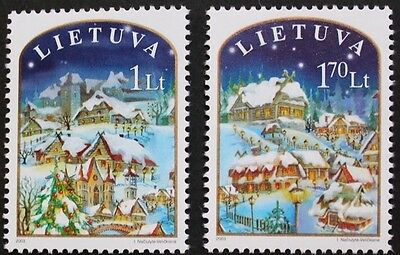 Christmas stamps, 2003, Lithuania, Christmas tree, church SG ref: 819 & 820, MNH