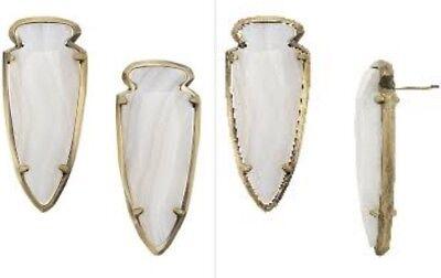 NWT kendra scott kathryn antique brass white agate earrings