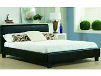 New Black Faux Leather 4ft6 Double Bed with Memory Foam Mattress
