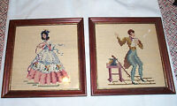 Vintage Framed Needlepoint Man and Woman Sampler