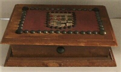 Wooden Hinged Box - NOIRMOUTIER Embroidered Shield & Studs - French Souvenir