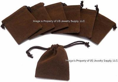 Lot Of 25 Brown Velvet Velveteen 2 X 2.5 Drawstring Gift Pouches