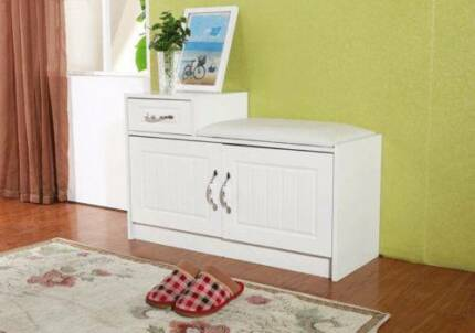 %~ New Wooden Stool shoe cabinet Seater White Storage Organizer