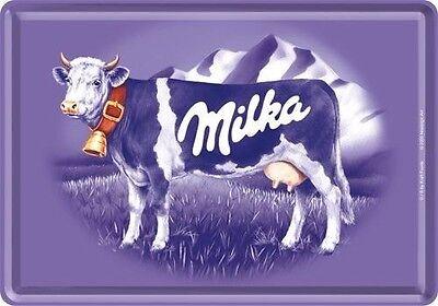 Blechpostkarte -  Milka - lila Kuh - 10x14 cm - Nostalgic Art