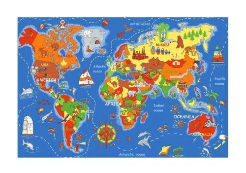 World Map Rug Ebay