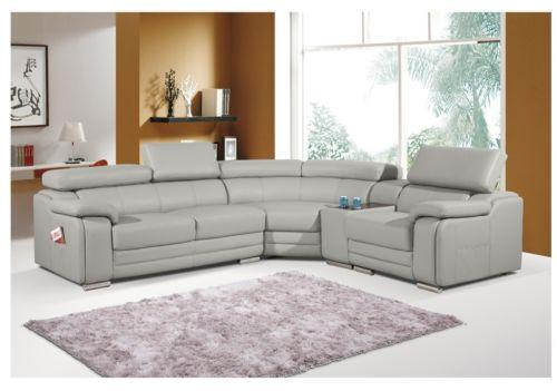 Grey Leather Corner Sofas Ebay