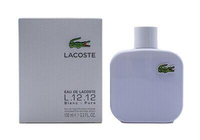 Eau De Lacoste Blanc Pure White L.12.12 Cologne for Men 3.3 / 3.4 oz New In Box