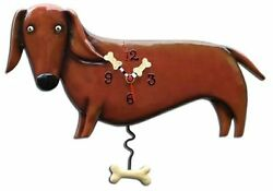 Allen Designs Oscar the Dachshund Dog Pendulum Childs Kids Whimsical Wall Clock