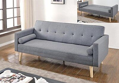 NEW 3 Seater Light grey Scandinavian style Fabric Sofa Bed Modern Home Furniture