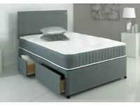 Spring Sale On-Divan Bed in Black White and Grey Color With Storage Drawers and Headboard