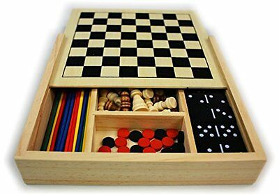 5 In 1 Travel Game Case Set Chess Checkers Dominoes Pick Up Sticks   Backgammon