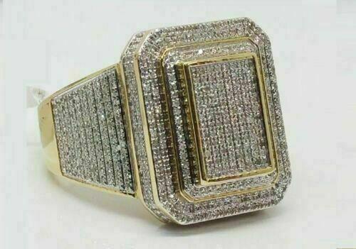 Diamond Pinky Ring Men's 14k Yellow Gold Over Round Cut Wedding Band 3.75 CT