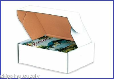 50 Pack - Tab Lock White Literature Mailer Shipping Boxes - 45 Sizes Available