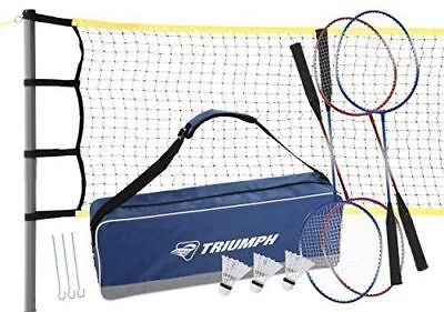 Triumph 4-Player Competition Backyard Badminton Set Includes Net, 4 Steel and 3