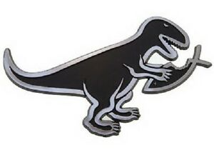 T-Rex-Eating-Fish-Darwin-Raised-Chrome-Like-Finish-Car-Emblem-T-Rex-Evolution