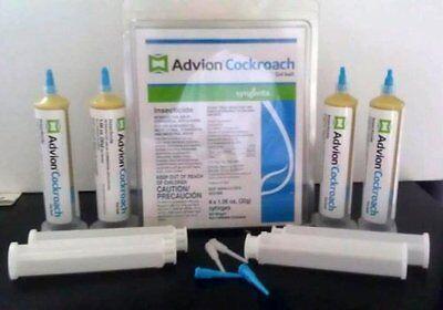 4 Tubes & 4 Plungers Advion Cockroach German Roach Pest Control Insecticide Bait