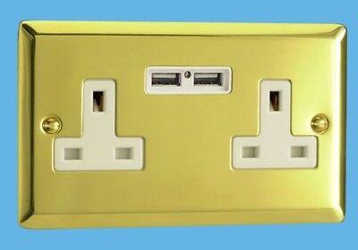 XV5U2W - USB Charging Socket Victorian Brass