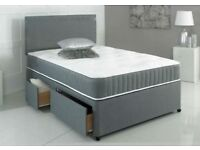 💗❤🔥❤💗BLACK GREY & WHITE💗❤🔥❤💗BRAND NEW DOUBLE DIVAN BASE BED & 13INCH SUPER ORTHOPEDIC MATTRESS