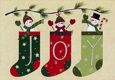 - Folk Art Snowman Stockings 16 Boxed Christmas Cards by Image Arts