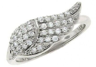 0.4 ctw F VS round diamond angel's wing fashion cocktail ring 14k white gold