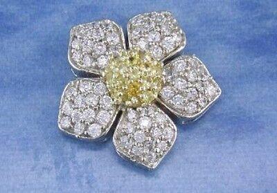 2.4 ct F VS round diamond yellow sapphire daisy flower pin brooch 14k white gold