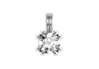 0.52 ct D SI2 round ideal cut diamond solitaire fashion pendant 14k white gold