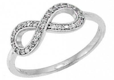 0.50 ct F VS round diamond infinity sign fashion ring 14k white gold size 7