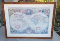 Classic World Map In Wooden Frame