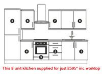 8 unit kitchen supplied for £595* with choice of 4 door styles + 3 worktops (lowest price anywhere)
