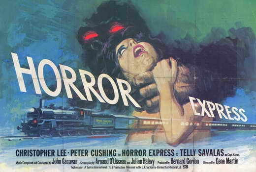 HORROR EXPRESS Movie POSTER 27x40 Christopher Lee Peter Cushing Telly Savalas
