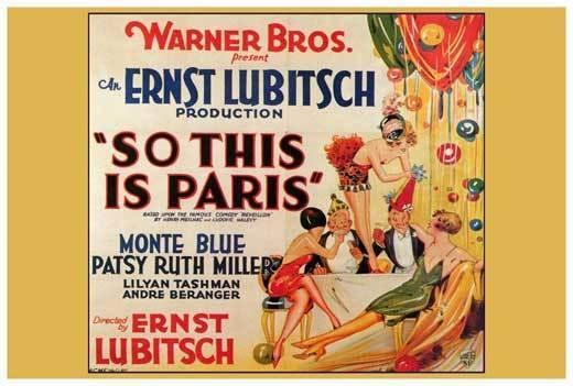 SO THIS IS PARIS Movie POSTER 27x40 Monte Blue Patsy Ruth Miller Lilyan Tashman