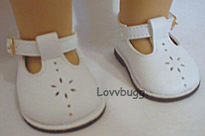 White T Strap Mary Janes Shoes For 18 American Girl Doll Clothes Best Selection on sale