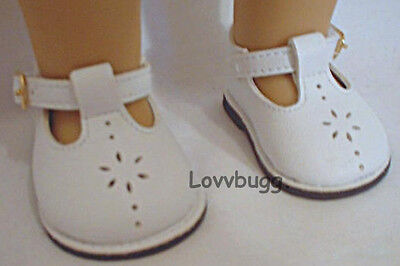 """Lovvbugg White T Strap Mary Janes for 18"""" American Girl or Bitty Baby Doll Shoes Clothes"""