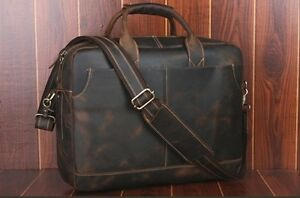 "TIDING Men's 100% Cow Leather Briefcase Laptop Bag Travel Messenger 17"" LRX8"