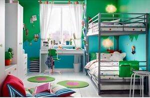 Ikea bunk bed frame silver color - twin