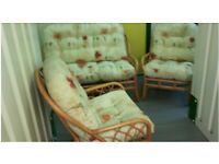 Wicker 2-seater Sofa and 2 Armchairs