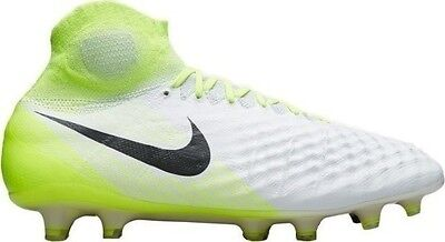 Nike Magista Obra II FG Soccer Cleats Yellow White Mens 844595-109 Size 6-13