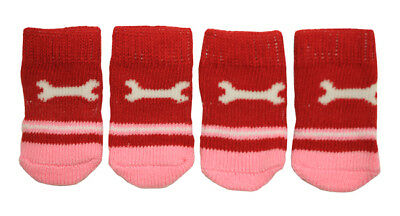 Red & Pink Wrench Anti-Slip Dog Socks for Clean Comfy Paws Cat Puppy 4pcs Size S