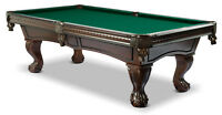 NEW Solid wood pool table with real leather pockets and slate