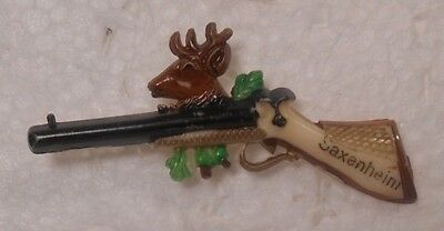 Vintage German Souvenir Hat Pin Rifle Saxenheim Oktoberfest