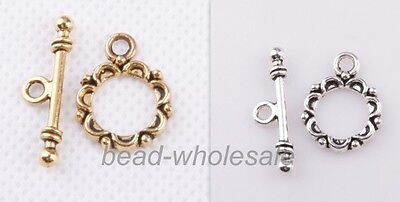 Lot 30 sets Tibetan silver Lacework Circle Toggle Clasps Making Jewelry Findings