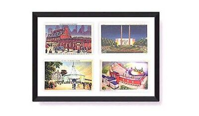Postcard Display Frame & Mat Fits 4 Vintage / Antique 3-1/2 x 5-1/2 Cards: BLACK