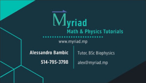MYRIAD Math & Physics Tutorials:  www.myriad.mp/contact.html
