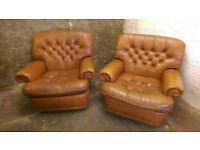 Vintage Retro Leather Chesterfield Cocktails Chairs Lounge Chairs Club Chairs