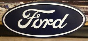 Oval Ford Motor Company Embossed Raised Metal Sign. 20 inches