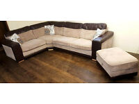 Large Beige/Brown Corner Sofa+Footstool With Storage. Can deliver