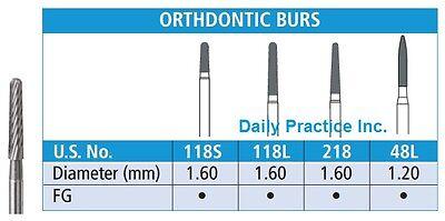 Johnson-promident Dental Carbide Burs Fg 18-blade Orthodontic All Sizes Box5